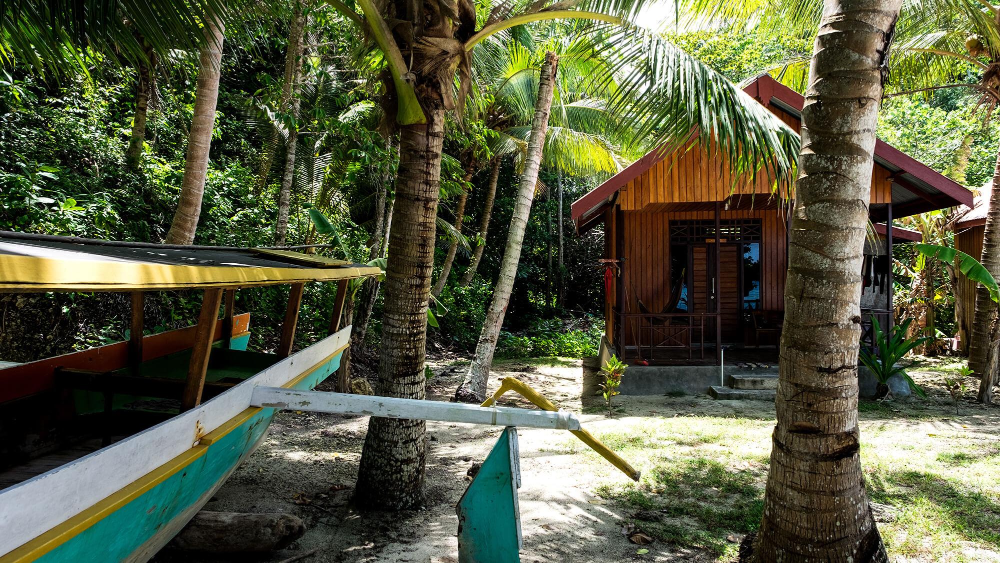 Cabaña en la isla de Malenge en las Togean Islands